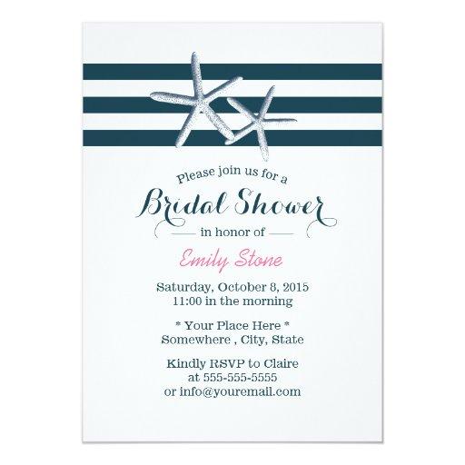 Simple Nautical Starfish Bridal Shower 5x7 Paper Invitation Card