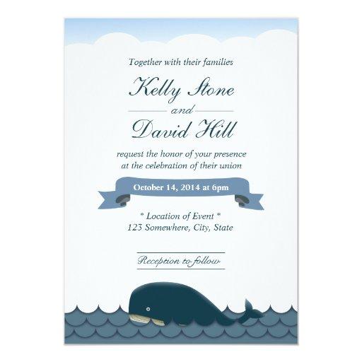 "Classy Blue Whale & Sea Wedding Invitations 5"" X 7"" Invitation Card"
