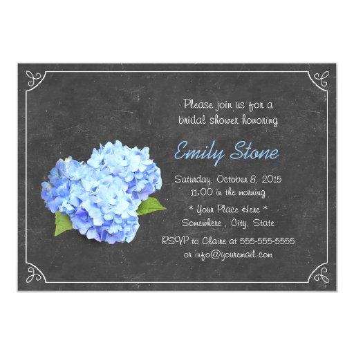 Simple Chalkboard Blue Hydrangea Bridal Shower 5x7 Paper Invitation Card