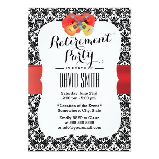 Classy Hibiscus & Ukulele Damask Retirement Party 5x7 Paper Invitation Card