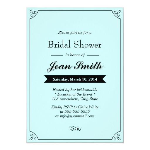 """Classic Mint Blue Bridal Shower Invitations 5"""" X 7"""" Invitation Card"""