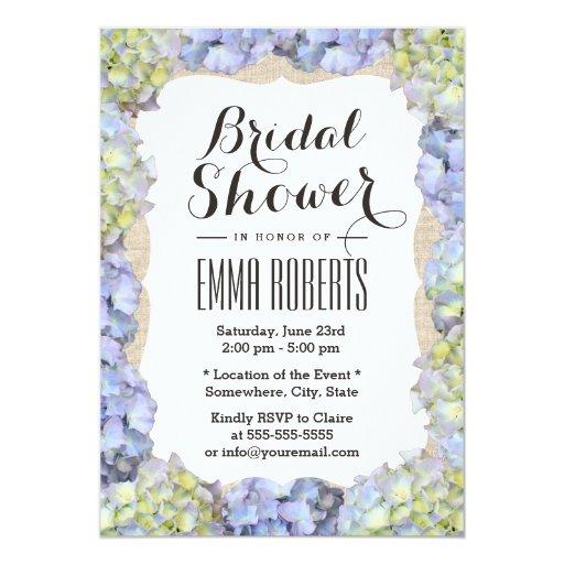 Elegant Hydrangea Flowers Burlap Bridal Shower 5x7 Paper Invitation Card