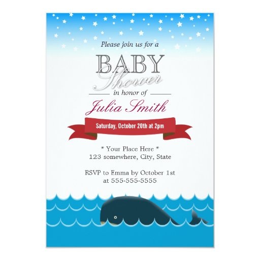 Cute Whale Swimming Under Blue Sky Baby Shower 5x7 Paper Invitation Card