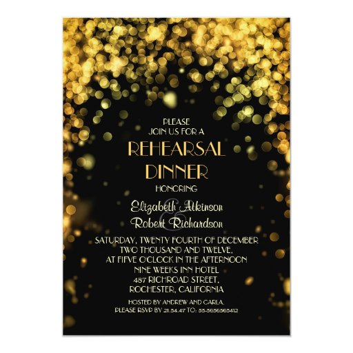 night lights black modern rehearsal dinner 5x7 paper invitation card