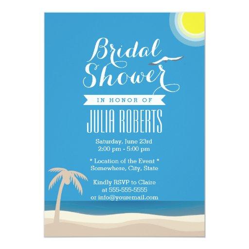 "Summer Beach Theme Bridal Shower Invitations 5"" X 7"" Invitation Card"