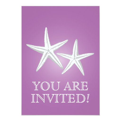 "Classy Violet Starfish Engagement Party Invitation 5"" X 7"" Invitation Card"