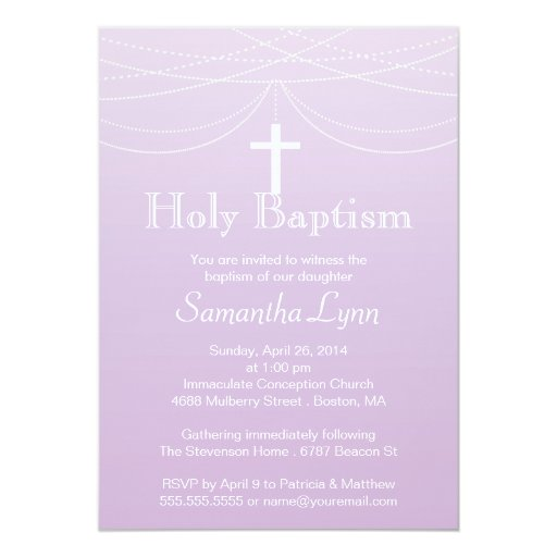 Modern Pink Ombre Garland Cross Holy Baptism 5x7 Paper Invitation Card