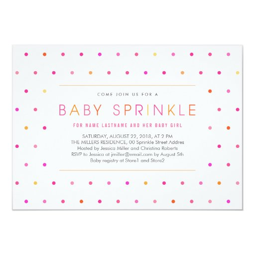 """Pink Dots Modern Clean Girl Baby Sprinkle Invite 5"""" X 7"""" Invitation Card"""