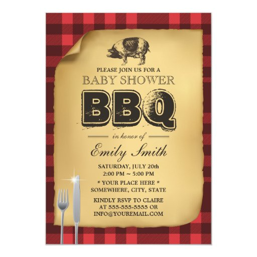Classic Gingham Pig Roast BBQ Baby Shower 5x7 Paper Invitation Card