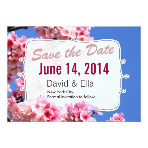 """Cherry Blossom Save the Date Announcement 5"""" X 7"""" Invitation Card"""