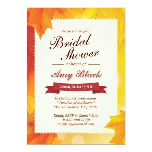 "Classy Autumn Leaves Bridal Shower Invitations 5"" X 7"" Invitation Card"