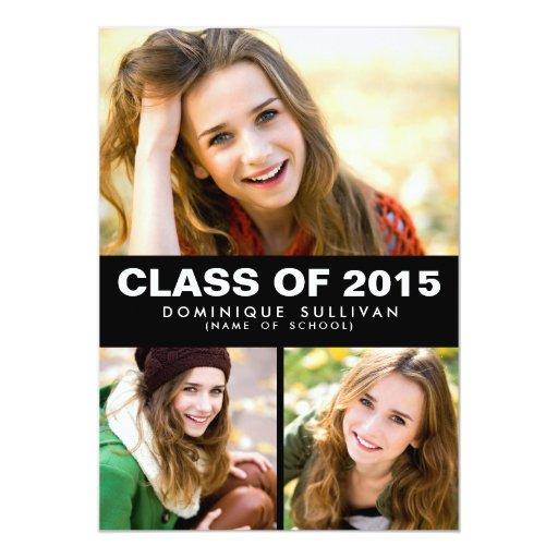 """Photo Collage Class of 2015 Graduation Invitation 5"""" X 7"""" Invitation Card"""