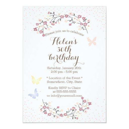 Spring Garden Butterfly & Flowers Birthday Party 5x7 Paper Invitation Card