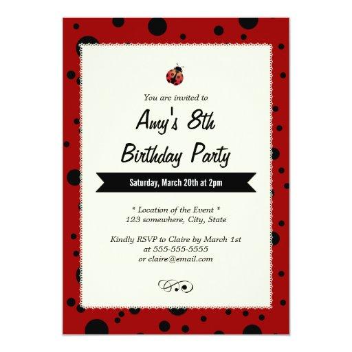 "Cute Ladybug Black & Red Birthday Invitations 5"" X 7"" Invitation Card"