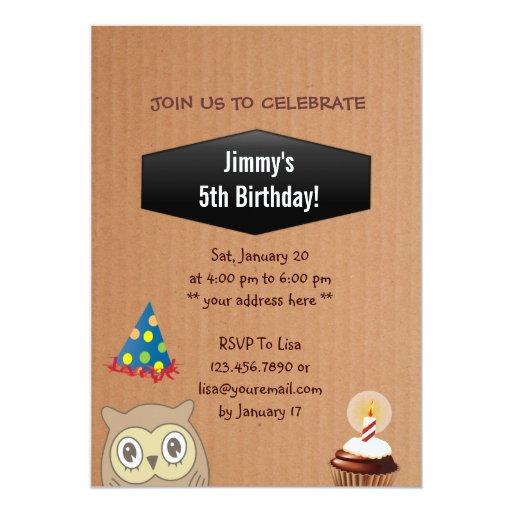 """Cute Owl Birthday Party Cardboard Invitation 5"""" X 7"""" Invitation Card"""
