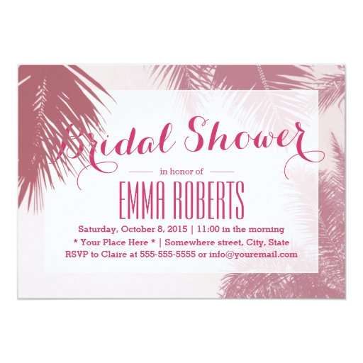 Tropical Pink Palm Tree Bridal Shower 5x7 Paper Invitation Card