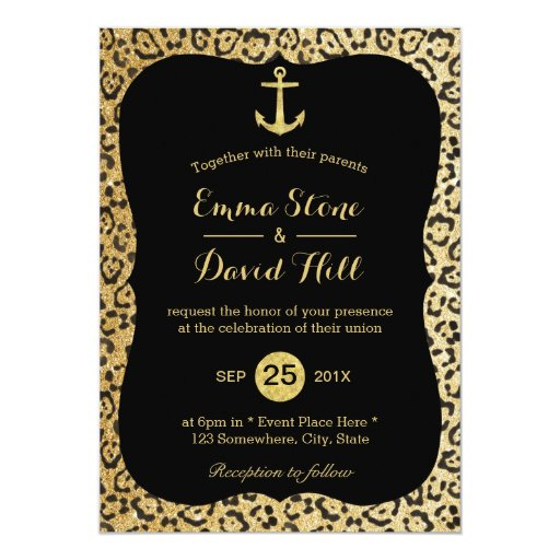Modern Gold Leopard Print Nautical Wedding 5x7 Paper Invitation Card