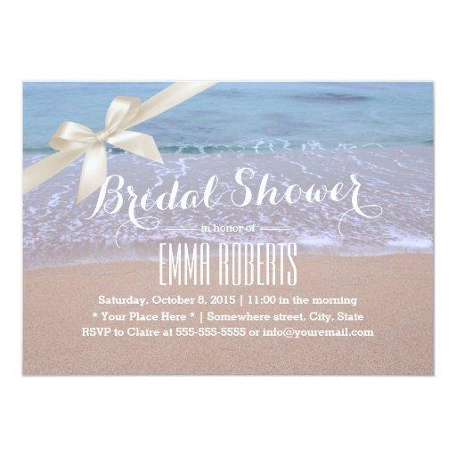 Stylish Ivory Ribbon Beach Theme Bridal Shower 5x7 Paper Invitation Card
