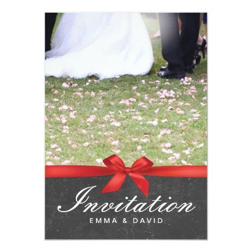 "Stylish Red Ribbon Chalkboard Wedding Invitations 5"" X 7"" Invitation Card"