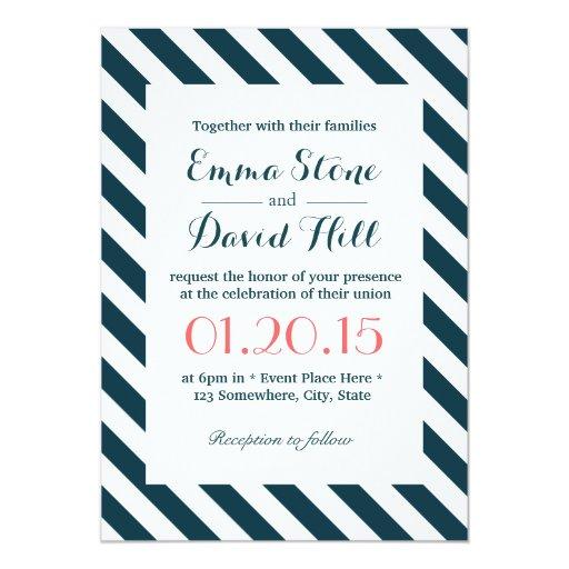 Nautical Blue & White Diagonal Stripes Wedding 5x7 Paper Invitation Card
