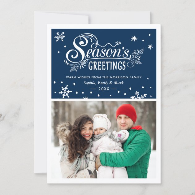 Warm Wishes Season's Greetings Typography Photo Holiday Card