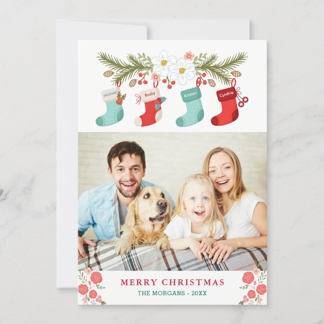 Merry Christmas Stockings Names Pet Family Photo Holiday Card