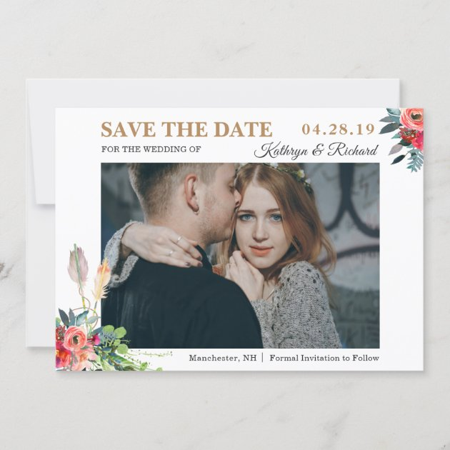 Chic Rustic Bohemian Floral Save The Date Photo