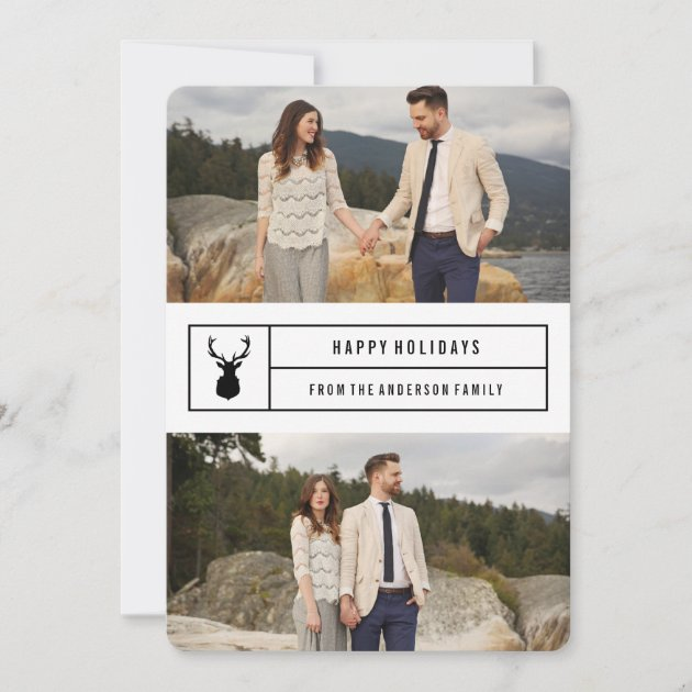 Simple Stag in White Holiday Card