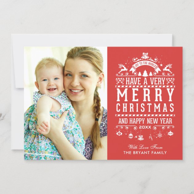Joy To The World Typography Merry Christmas Photo Holiday Card