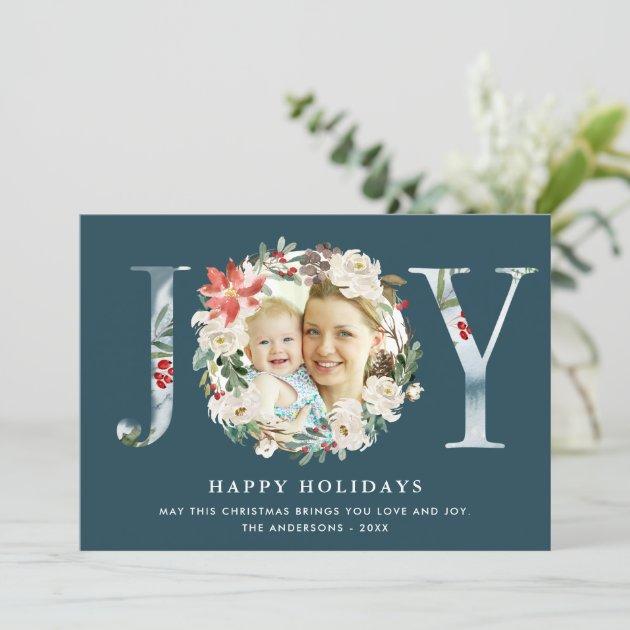 JOY Typography Poinsettia Floral Wreath Photo Holiday Card