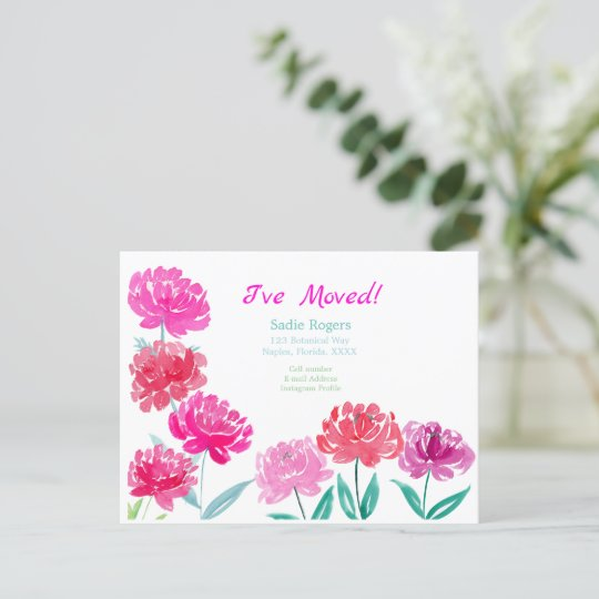 Peonies Watercolor New Address Announcement Postcard