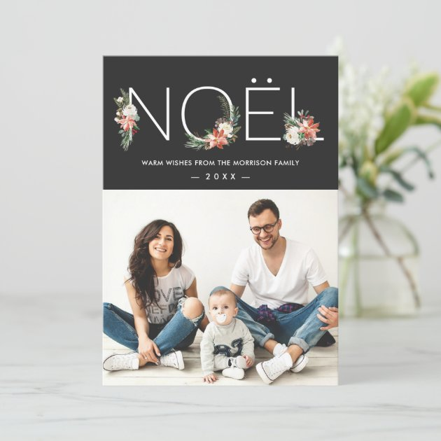 NOEL Typography Poinsettia Floral Christmas Photo Holiday Card