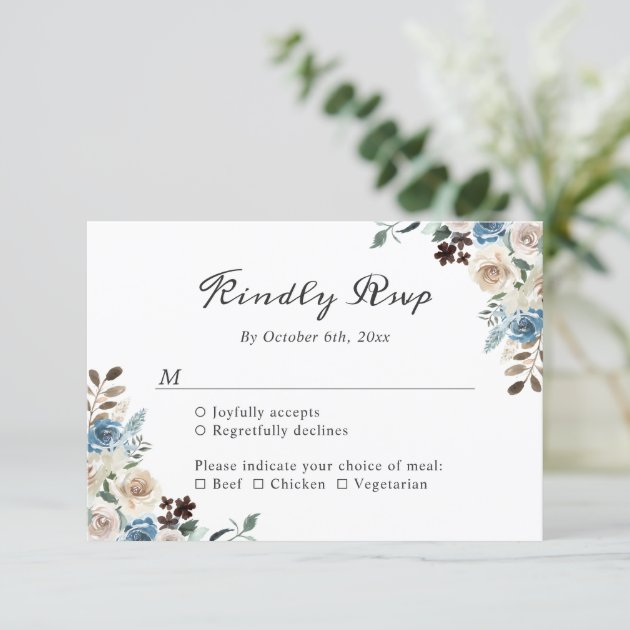 Rustic Boho Dusty Blue Floral Wedding RSVP Card