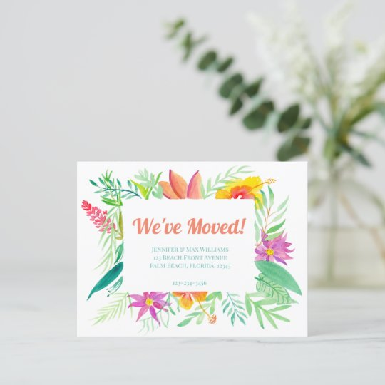 We've Moved! Tropical Floral Frame Announcement Postcard