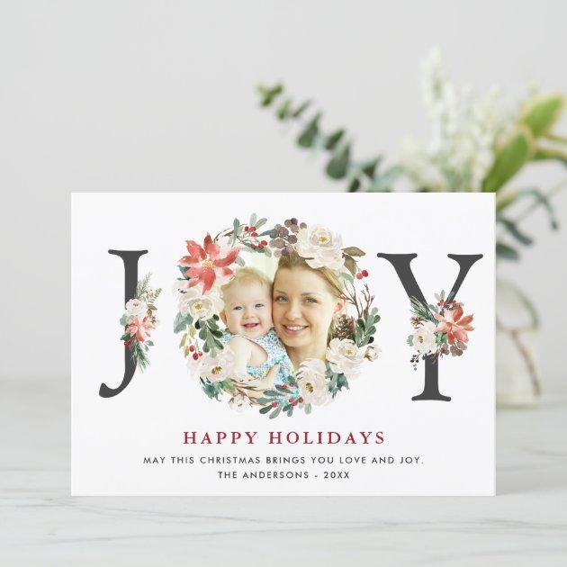 Christmas JOY Poinsettia Floral Wreath Photo Holiday Card