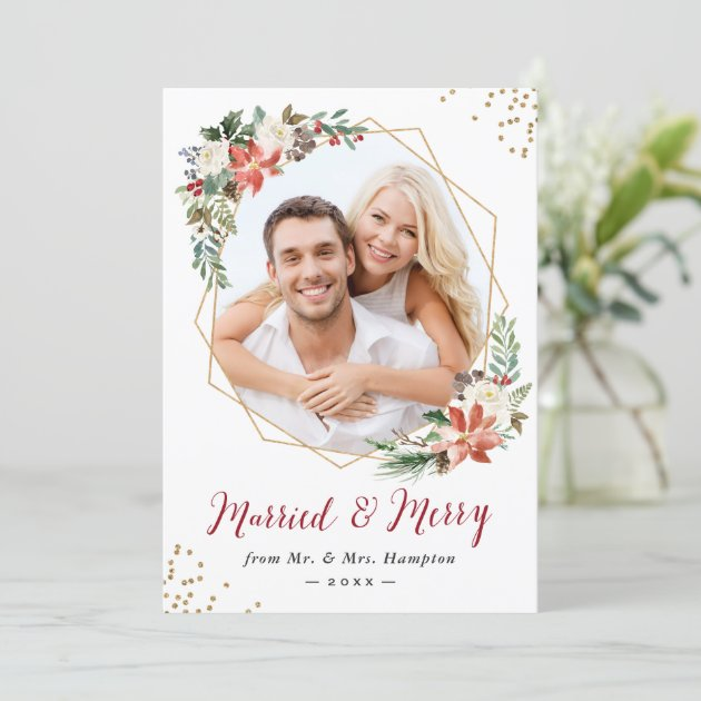 Married and Merry Modern Geometric Newlywed Photo Holiday Card