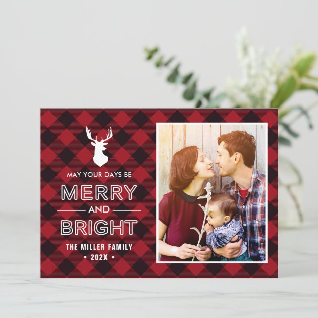 Red Buffalo Check Plaid Merry and Bright Photo Holiday Card