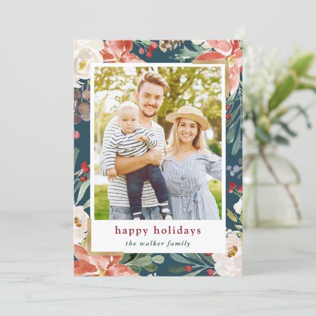 Christmas Poinsettia Floral 4 Photos Collage Holiday Card