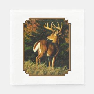 Whitetail Deer Trophy Buck Hunting Paper Napkin