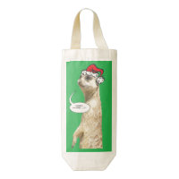 Christmas Meerkat Green Wine Bag