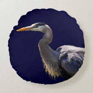 Great Blue Heron Round Throw Pillow