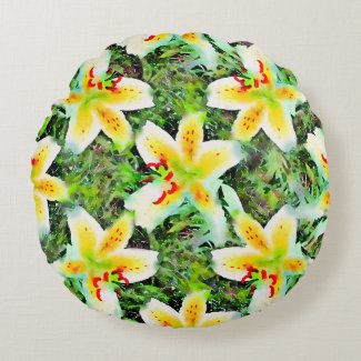Watercolor White Lilies Green Leaf Aloha Botanical Round Pillow