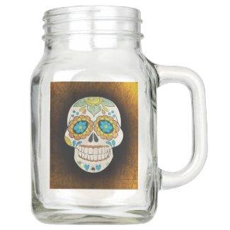 Orange and Black Sugar Skull Glass Mason Mug Mason Jar