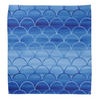 Light to Dark Blue Watercolor Scale Pattern Bandana