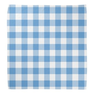 Light Blue and White Gingham Pattern Bandana