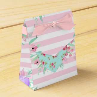 Pretty Floral Pink and Purple Favor Boxes