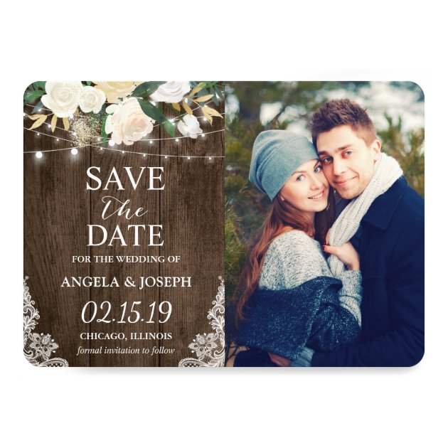 Rustic Country Romantic Chic Save the Date Photo Card
