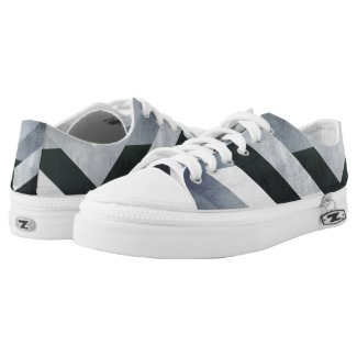 Unique Distressed Black Gray White Geometric Low-Top Sneakers
