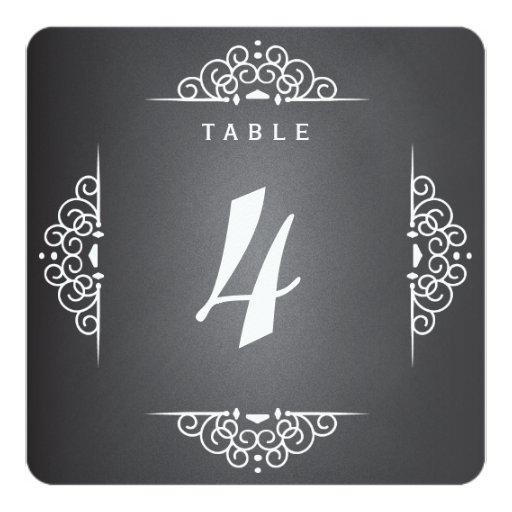 "Elegant Love Chalkboard Wedding Table Number Card 5.25"" Square Invitation Card"