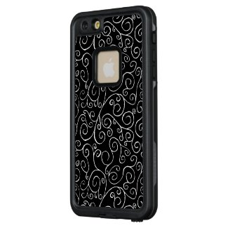 Elegant White Scrolling Curves on Black LifeProof® FRĒ® iPhone 6/6s Plus Case